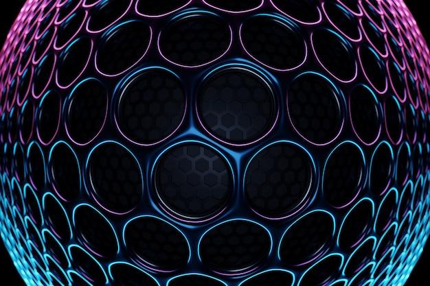 ピンクとブルーのネオン光の下で黒い円の行の3dイラスト