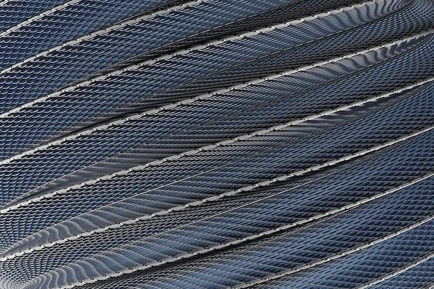 3d иллюстрации рядов черной металлической спирали