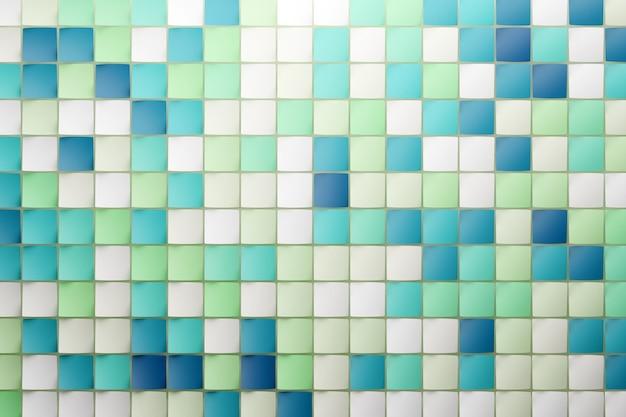 青と緑の立方体の行の3dイラスト。平行四辺形のパターン。技術幾何学の背景