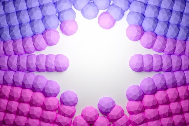 ピンクのポリゴンの行の3dイラスト。平行四辺形のパターン。技術幾何学の背景