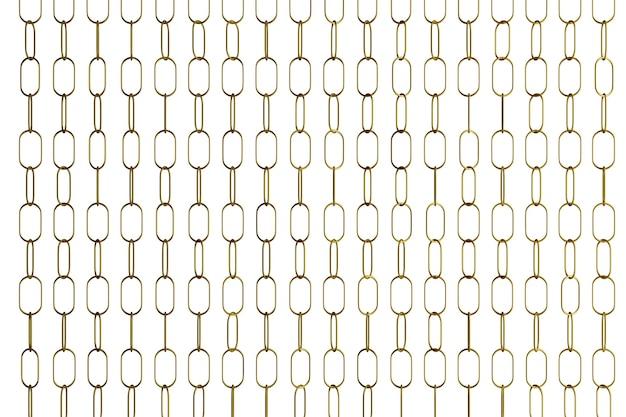 Иллюстрация 3d рядов серебристых металлических цепей. набор цепей на белом фоне.