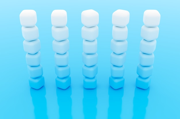 3d иллюстрации рядов белого куба. набор жевательной резинки на синем фоне. образец параллелограмма. технологический фон геометрии
