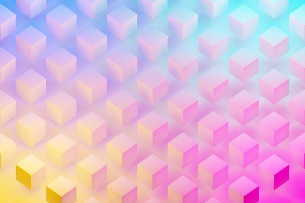 블루 핑크 네온 색상 아래 흰색 큐브 행의 3d 그림. 평행 사변형 패턴. 기술 기하학 배경