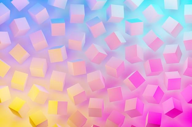 青ピンクのネオン色の下で白い立方体の行の3dイラスト。平行四辺形のパターン。技術幾何学の背景
