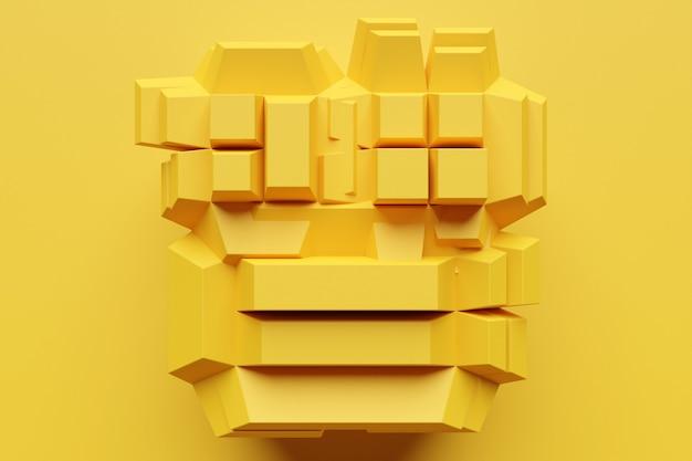 黄色い正方形の行の3dイラストモノクロの背景パターンの立方体のセット