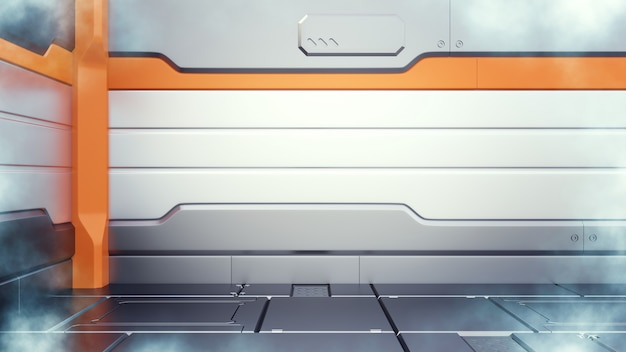 サイエンスフィクションの極低温冷凍庫の廊下のインテリアの3 dイラストレーション
