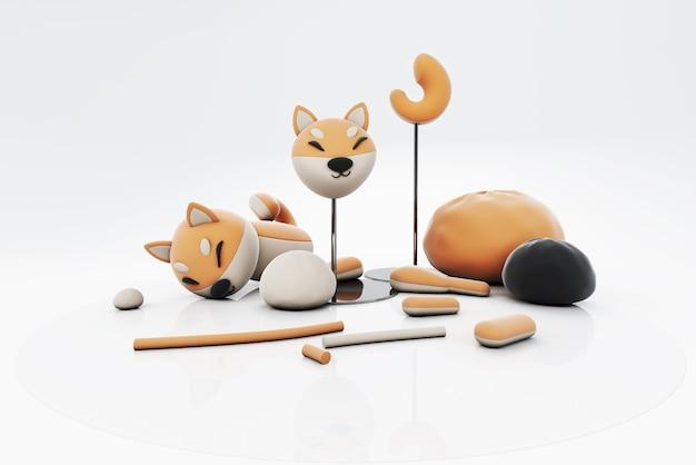 芝犬プラスティシンの3 dイラストレーション