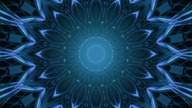 抽象的な未来的な背景デザインのための花の形で光沢のある青いネオン装飾照明の3dイラスト