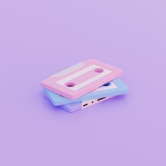3d иллюстрации простой объект старый кассетный магнитофон