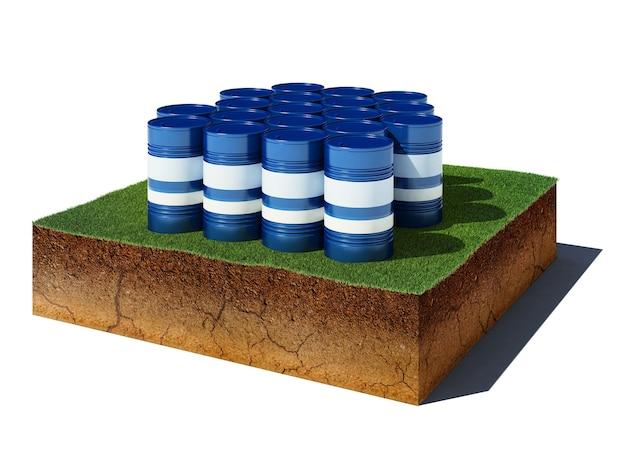 3d иллюстрации почвенный разрез с высоты птичьего полета куб грязи с изолированными бочками с нефтью