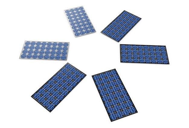 3d иллюстрации панели солнечных батарей на белом фоне