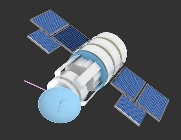 3d иллюстрации космического спутника на сером фоне