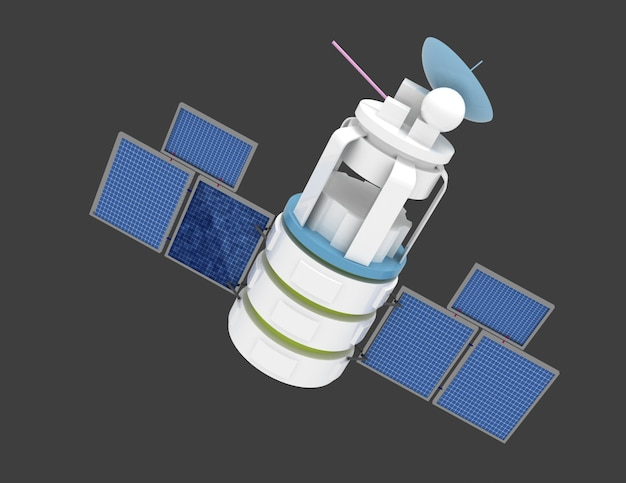 3d иллюстрации космического спутника на сером фоне Premium Фотографии