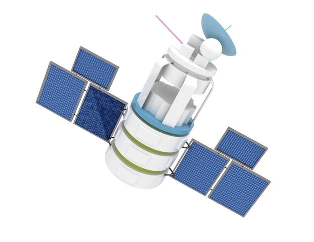 3d иллюстрации космического спутника на белом фоне