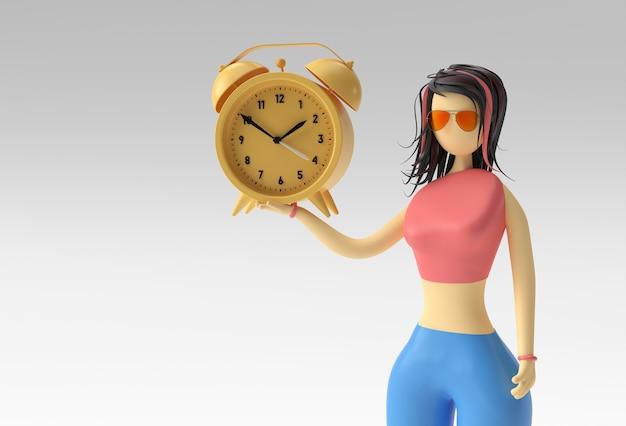 시계 시계, 3d 렌더링 디자인을 들고 서 있는 여자 손의 3d 그림.