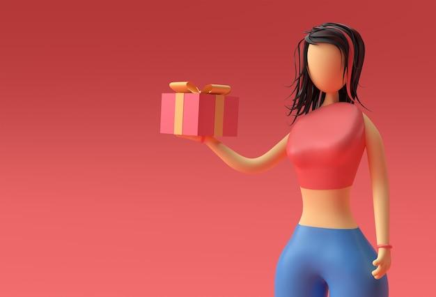 ギフトボックス、3dレンダリングデザインを持っている立っている女性の手の3dイラスト。