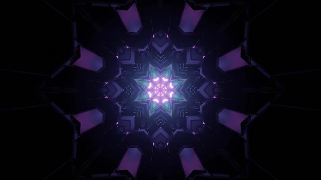 抽象的な背景として暗いトンネルで光る星型の装飾パターンの3dイラスト