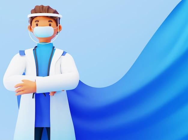 コピースペースと青い背景にフェイスシールド付きマスクを身に着けているスーパードクター男の3dイラスト。
