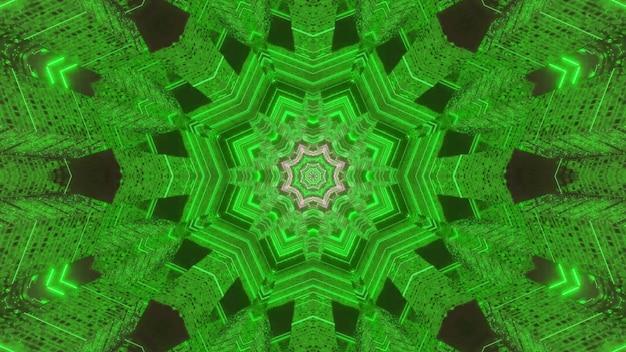トンネルを形成する明るい緑の万華鏡のような飾りの対称的な抽象的な背景の3dイラスト
