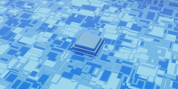 기술 마이크로칩 배경의 3d 그림, 디지털 표면 회로 기판 및 칩의 관점