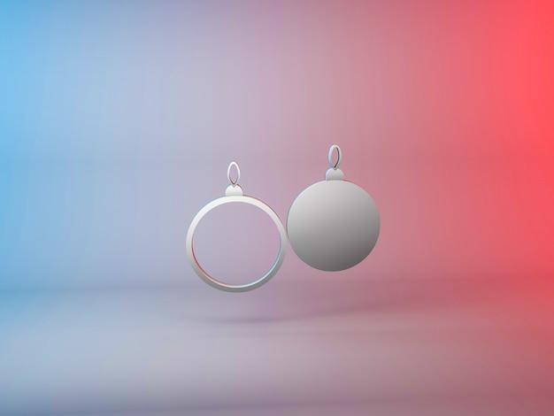 그라데이션 배경에 크리스마스 트리 공 아이콘의 3d 그림