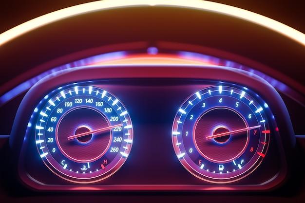 走行距離計、速度計を備えたインストルメント自動車パネルのクローズアップの3dイラスト