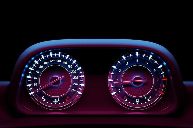 走行距離計を備えたインストルメント自動車パネルのクローズアップの3dイラスト