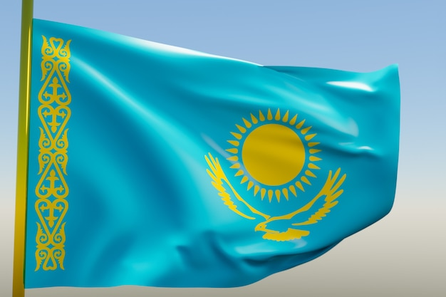 3d иллюстрации государственного флага казахстана