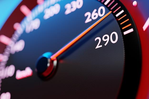 Трехмерная иллюстрация деталей интерьера нового автомобиля. черный спидометр показывает максимальную скорость 270 км ч. дизайн и интерьер современного автомобиля.