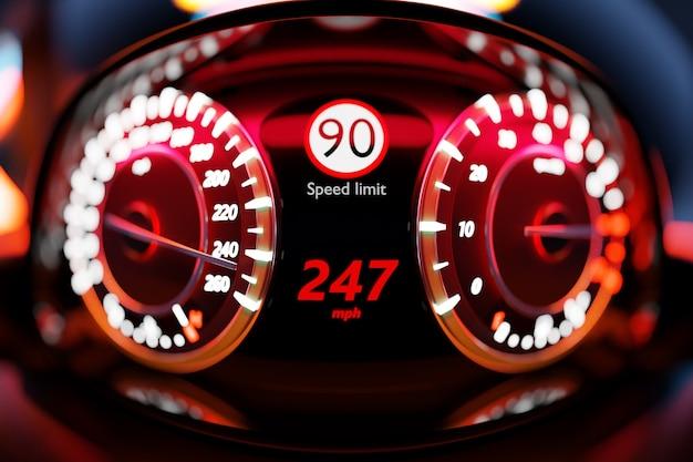 新しい車のインテリアの詳細の3dイラスト。スピードメーターは247kmの最高速度を示しています
