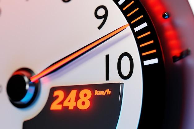 Трехмерная иллюстрация деталей интерьера нового автомобиля. спидометр показывает максимальную скорость 248 км ч, тахометр с красной подсветкой. дизайн и интерьер современного автомобиля.