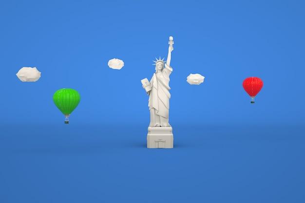 파란색 격리 된 배경 디자인 그림에 자유의 여신상의 3d 그림
