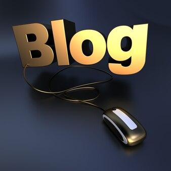 골드에서 블로그 단어의 3d 일러스트 마우스에 연결합니다.