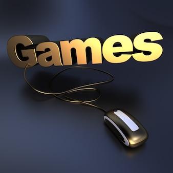 컴퓨터 마우스에 연결된 금색 단어 게임의 3d 일러스트