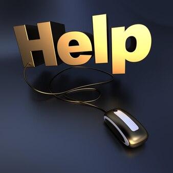 컴퓨터 마우스에 연결된 금색의 단어 도움말의 3d 일러스트