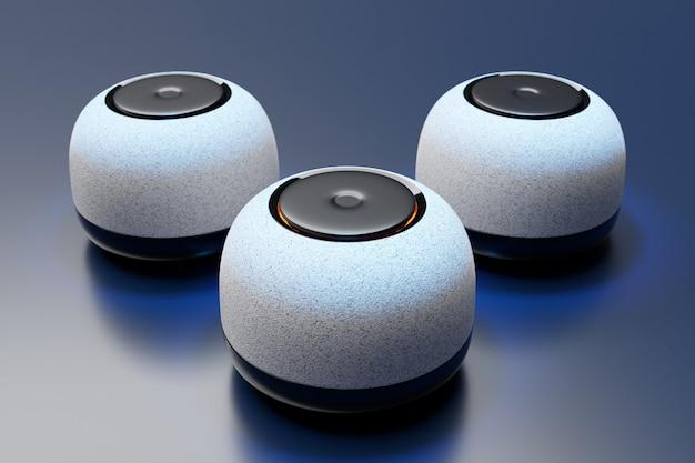 어두운 배경에 백라이트가 있는 3개의 원형 휴대용 음악 스피커의 3d 그림.