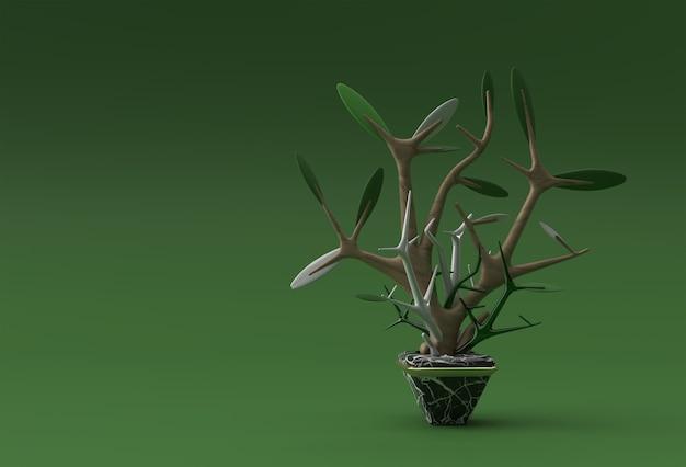 色の背景で隔離の鍋に木の3dイラスト
