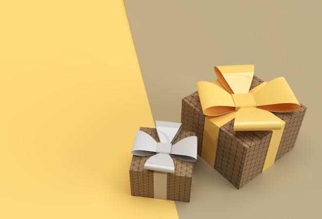 활과 리본 디자인이 있는 두 개의 선물 상자의 3d 그림.