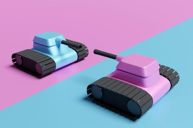 対立の漫画スタイルの黒毛虫と2つのピンクと青のタンクの3dイラスト