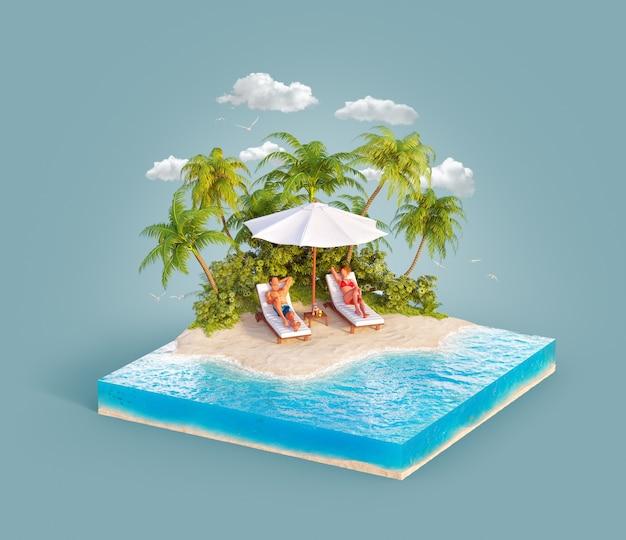 3d иллюстрации двух молодых людей, лежащих на шезлонгах на красивом пляже