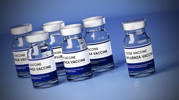 파란색 배경에 튜브에 백신의 3d 일러스트