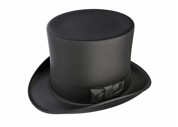 3d иллюстрации старинный черный цилиндр волшебная шляпа, изолированные на белом фоне