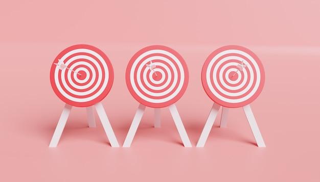 3d иллюстрация белой стрелки с мишенью стоит на фоне мишеней