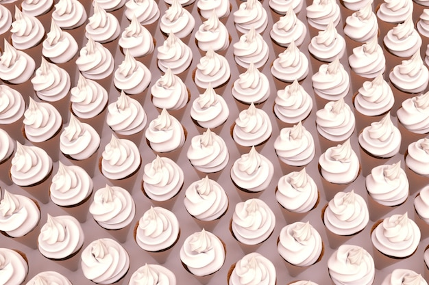격리된 분홍색 배경에 흰색 머랭, 마시멜로의 3d 그림. 표면에 많은 양의 머랭. 달콤한 취급. 3d 그래픽