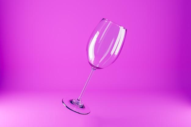 Иллюстрация 3d фужеров. фужеры для алкоголя, летящие на розовом фоне