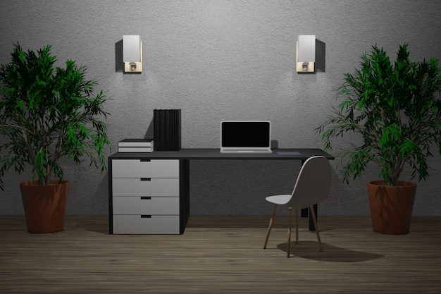作業室の3 dイラストレーション