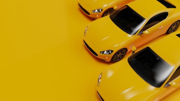 노란색 표면에 노란색 자동차의 3d 그림
