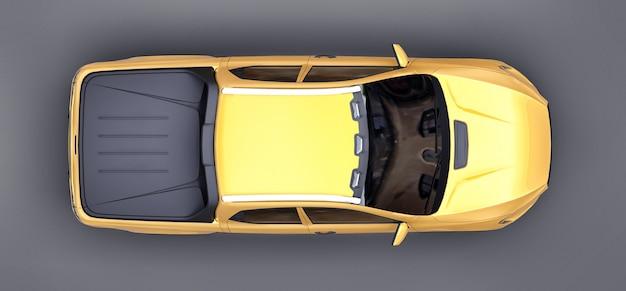 회색 격리 된 배경에 노란색 개념화물 픽업 트럭의 3d 그림. 3d 렌더링.
