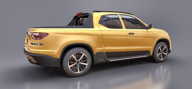 회색 고립 된 표면에 노란색 개념화물 픽업 트럭의 3d 그림