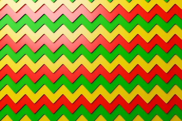 装飾的な印刷パターンからの黄色、緑、赤の幾何学模様の3 dイラストレーション。